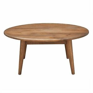 Metro 90cm Round Coffee Table Solid Mango Wood Light Oak Colour Ebay