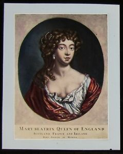 Glass-Magic-Lantern-Slide-MARY-OF-MODENA-C1890-DRAWING-KING-JAMES-II-SECOND-WIFE