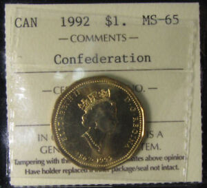 Canada-1992-Confederation-1-dollar-coin-grading-by-ICCS-MS-65