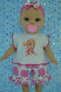 PlaynWear-Dolls-Clothes-For-14-034-Luvabella-Newborn-PINK-APPLE-PANTS-TOP-HEADBAND