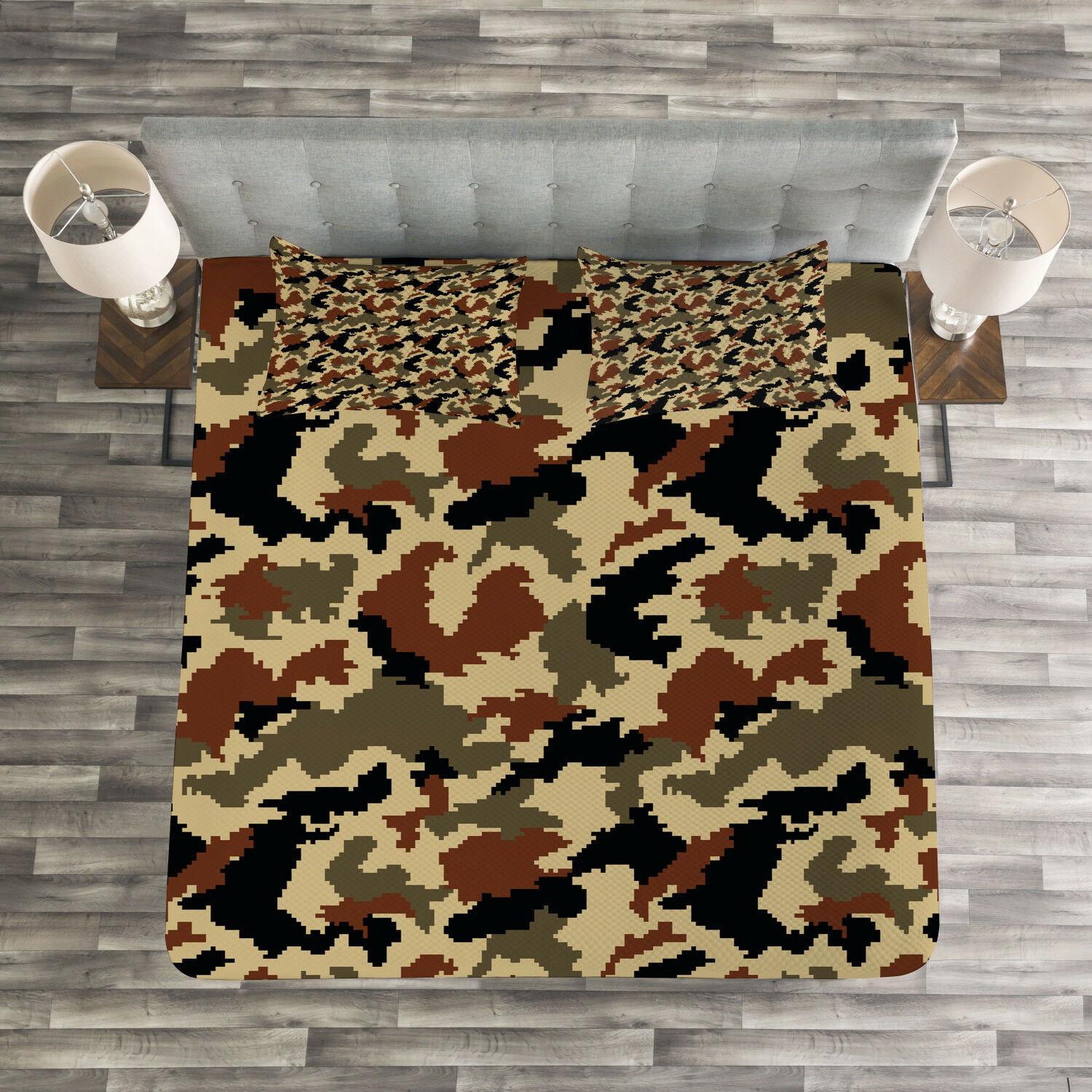 Camouflage Quilted Bedspread & Pillow Shams Set, Pixel Art Abstract Print