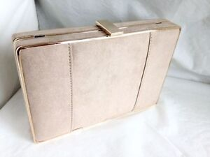 Image Is Loading New Beige Faux Suede Box Evening Clutch