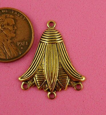 ANT BRASS EGYPTIAN LOTUS FLOWER W/3RING-2 PC(s)