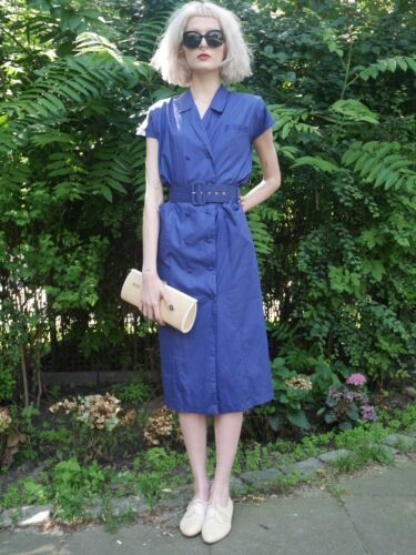 through vero 80 '30 pulsante anni Come petto blu stile abito 36 Vestito d'epoca doppio a wTX7xAq