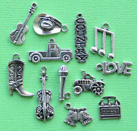 Country Music Charm Collection 12 Tibetan Silver Tone Charms Free Shipping E51