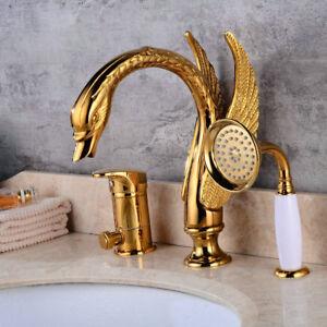 3pcs Gold Swan Style Basin Mixer Taps