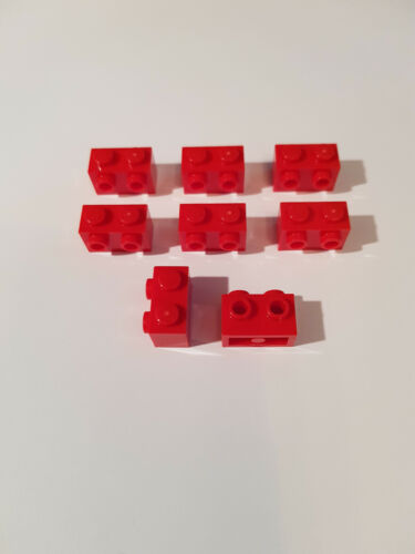 Lego 8 x 11211 Converter Stone 1 x 2 Red 2 Nubs 6019155 Snot #AC04