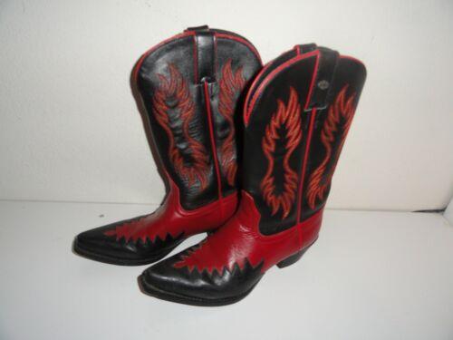 WOMEN'S BLACK &RED HARLEY DAVIDSON COWBOY BOOTS-SI