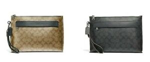 Coach-Mens-F29508-F39763-Signature-Canvas-Leather-Carry-All-Pouch-Clutch-Bag