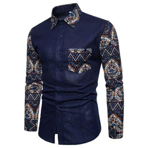 Long sleeve men/'s tops luxury floral formal casual slim fit dress shirt t-shirt