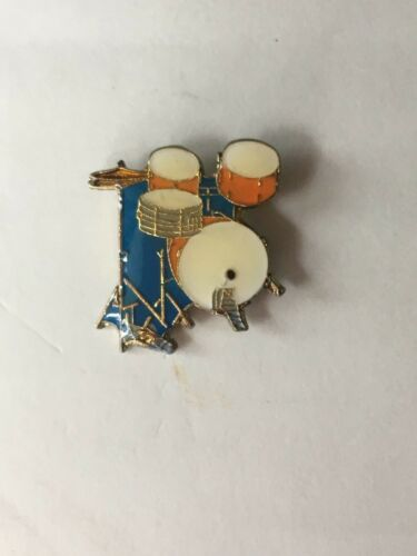 VTG 80/'S DRUM SET ENAMEL LAPEL PIN