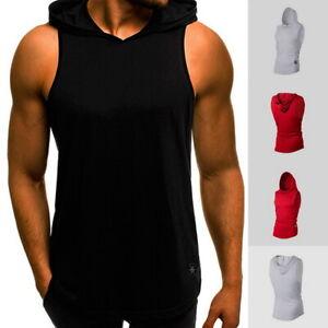 Uomini-Palestra-Senza-Maniche-Gilet-Felpa-Con-Cappuccio-Bodybuilding-Canottiera-Muscolo-Camicia-Con