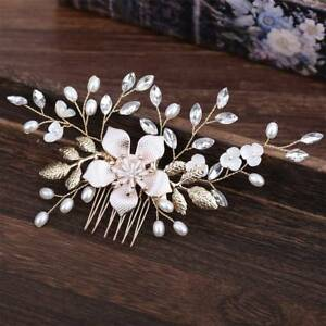 Wedding-Flower-Hair-Pins-Bridesmaid-Crystal-Diamante-Pearls-Bridal-Clips-Comb