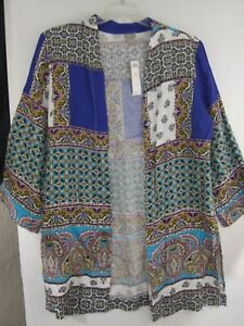 Chico's sz 2 Patchwork Linen Open Front Duster Jacket NWT $139