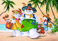 Snowman Family On Beach Box Of 18 Warm Weather Tropical Christmas Cards