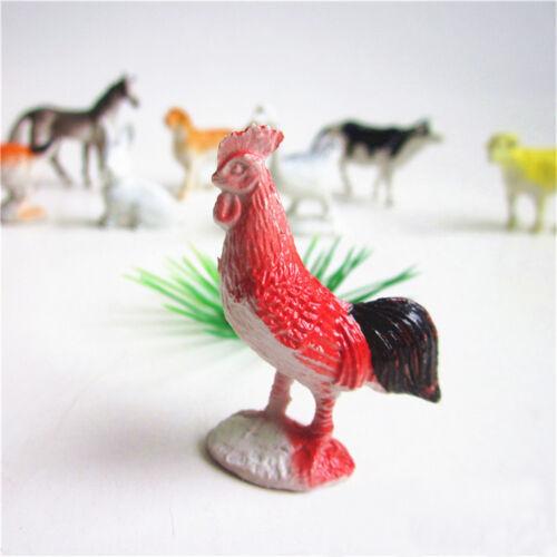 8x Farm Animals Models Figure Set Toy Plastic Simulation Horse Dog Kid Gift JJUK