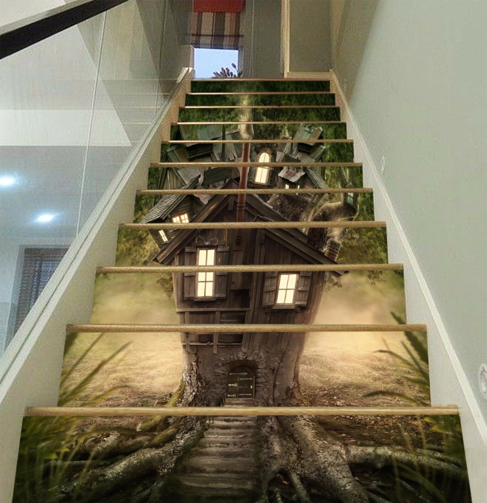 3D Tree House 831 Stair Risers Decoration Photo Mural Vinyl Decal Wallpaper AU