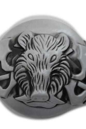 New Men Women Silver Buckle Black Animal Wild Pig Boar Tusks Head Hunters Bull
