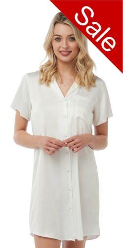 Ladies Plain White Satin Nightshirt Nightdress Short Sleeve Slip Button Up