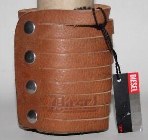 New-DIESEL-Fashion-Leather-Bracelet-Large-Brown-Press-Logo-Vintage-Style