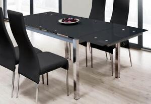 Mesa extensible para comedor con cristal templado negro y estructura ...