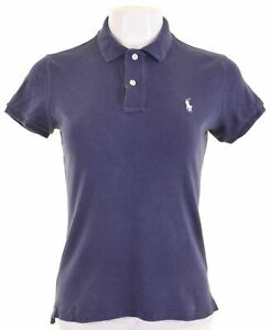 RALPH-LAUREN-SPORT-Womens-Polo-Shirt-Size-12-Medium-Navy-Blue-Cotton-Slim-Fit