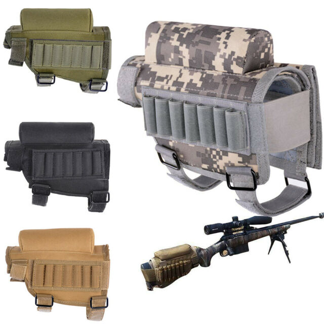 Hunting Tactical Shotgun Rifle Butt Stock Ammo Pouch Cheek Rest Nylon Pad  Bag UK