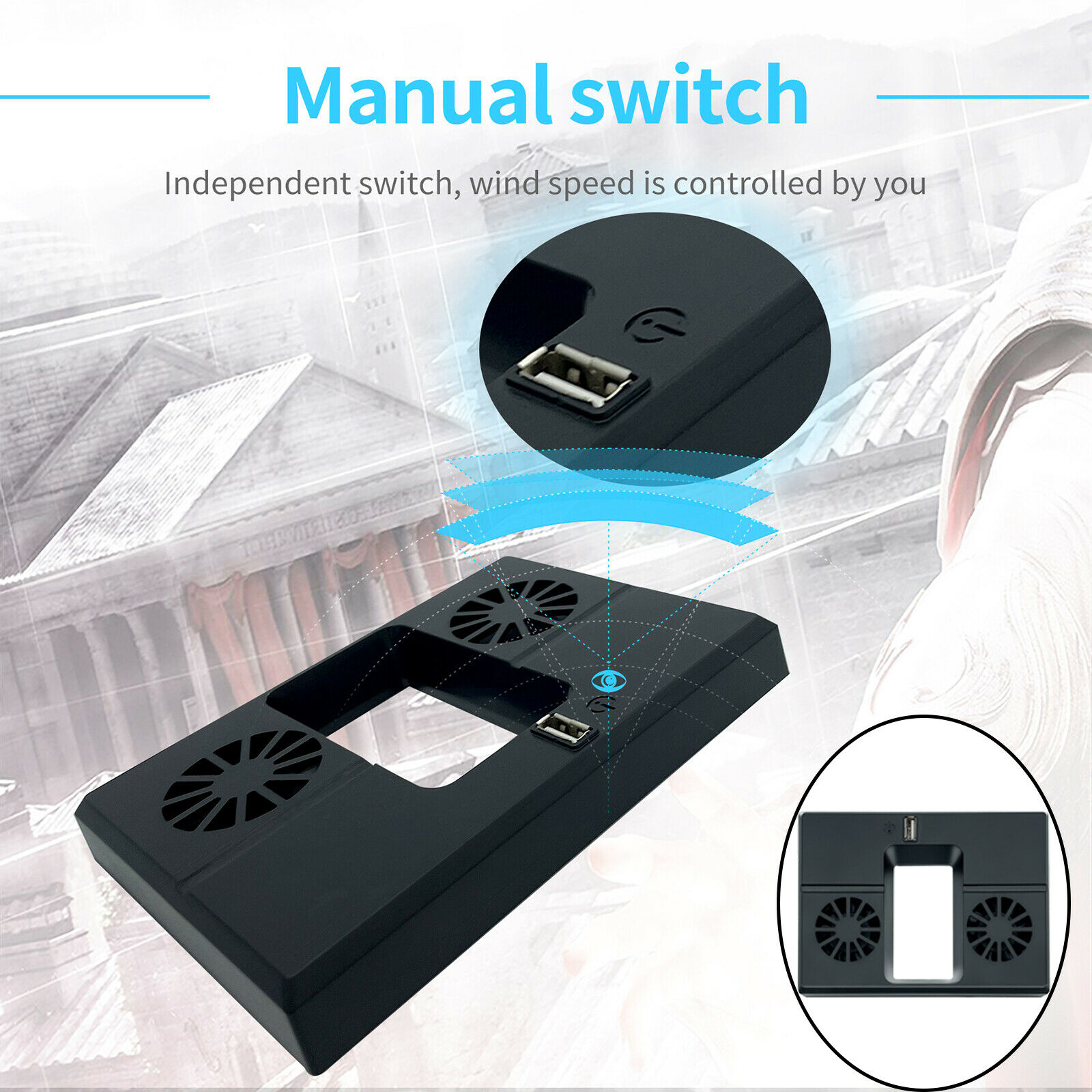 Cooling Fan Vertical Stand Dock External USB for Series x Game Console