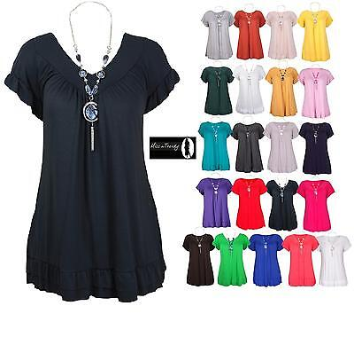 Womens Plus Size Frill Necklace Gypsy Ladies Tunic Short Sleeve Long V Neck Tops