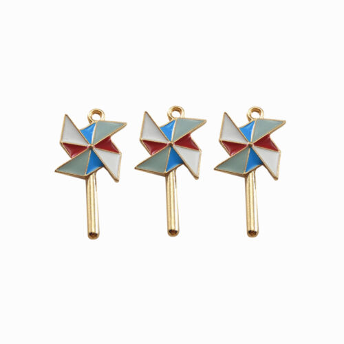 8pcs//lot Colorful Enamel Gold Tone Alloy Pendants Windmill Look Jewelry Crafts