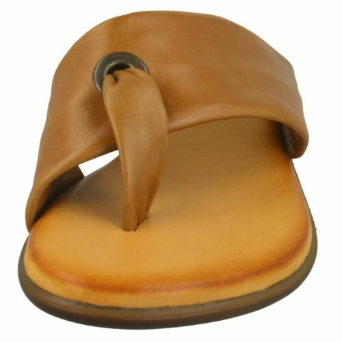 LEATHER COLLECTION LADIES TOE POST SLIP ON LEATHER MULES FLAT SANDALS F0R0199