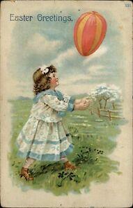 Easter-Victorian-girl-egg-balloon-pink-yellow-striped-Mohawk-New-York-c1910