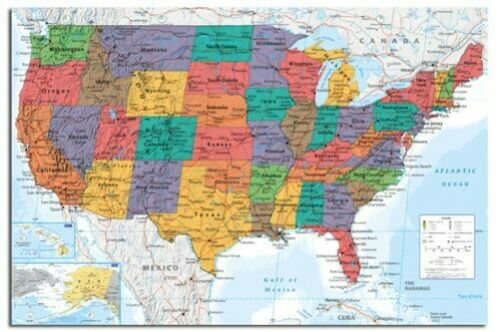 Laminiert USA Vereinigte Staaten Große Karte Wand Tabelle Poster Neu