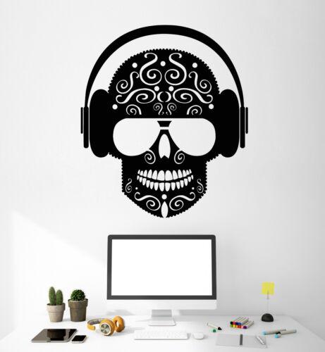 ig4801 Vinyl Wall Decal musical Skull Casque Music Teen Chambre Autocollants