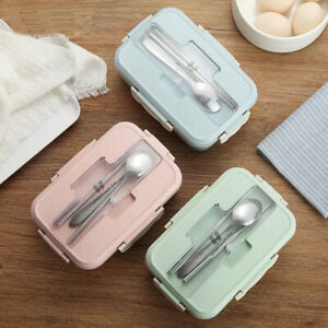 Microwave-Wheat-Straw-Bento-Lunch-Box-Spoon-Chopsticks-Food-Storage-Container