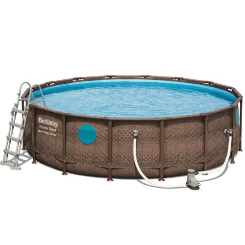 Bestway 56725 VISTA Pool im Power Deluxe Set 488x122cm Framepool  Rattan Leiter