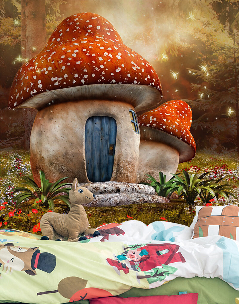 3D rot Mushroom house wall Paper Print Decal Wall Deco Indoor wall Mural