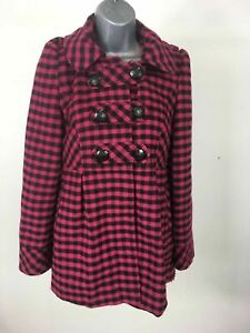 WOMENS-NEXT-PINK-amp-BLACK-CHECK-HOODED-DOUBLE-BREASTED-WOOL-MIX-COAT-SIZE-UK-6