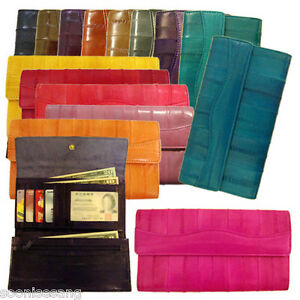 Genuine-Eel-Skin-Leather-Wallet-Trifold-Purse