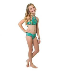 17ffa3ec76 Details about O'NEILL GIRLS BARDOT HIGH NECK HALTER BIKINI 2 PC SWIM SET  BLUE MULTI SZ 10 $48
