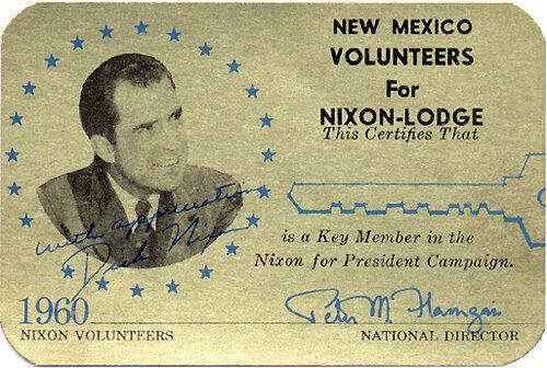 1960 New Mexico Volunteers for Nixon-Lodge Key Member Card 1439