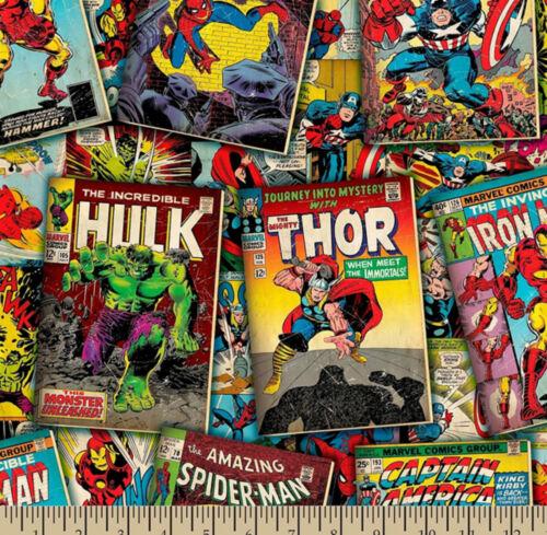 1//2 Yd Con licencia Marvel Retro Comic Libro cubre superhéroe Hy Tela De Algodón