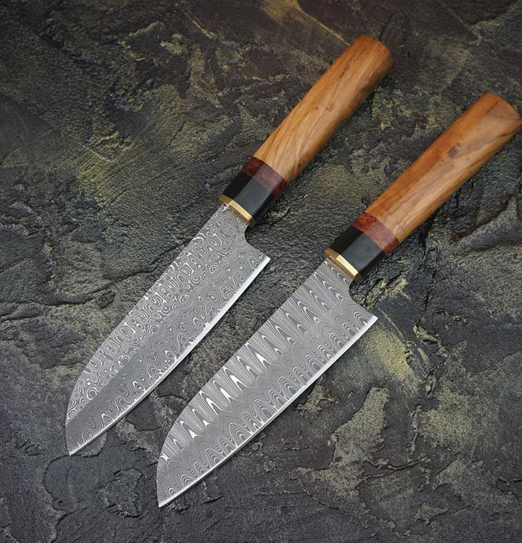 Handmade Japanese Santoku Knife VG10 Damascus Steel Wood Handle Leather Sheath X
