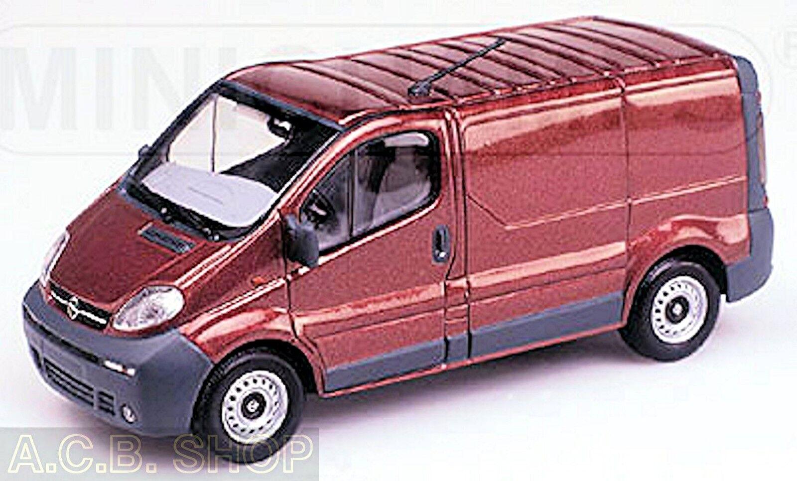 Opel vivario delivery van van van recuadro coche 2000-06 rojo rojo metalizado 1 43 Minichamps d85efe