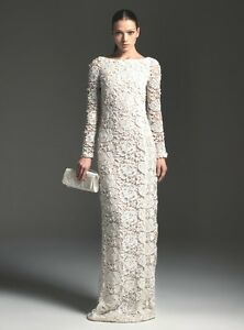 Blumarine Ivory Sequin Jeweled Lace Crochet Macrame Dress Gown 42 4