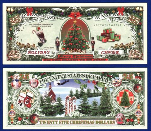 25-Holiday Cheer Christmas Tree Dollar Bills Santa Claus Reindeer Novelty B2