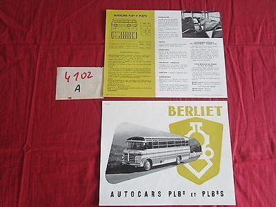 Ruimdenkende N°4102 A / Berliet : Prospectus Autocar Plb 8 Et Plb 8 S / P1527.9-55