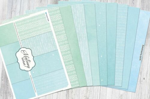 A4 scrapbooking glossy paper pad Mint Sorbet 8 sheets 2 x 8 designs 250gsm