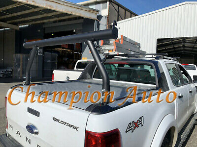 Matt Sandy Black Ladder Rack To Fit Ford Ranger Wildtrak Roller Cover Tracks Ebay