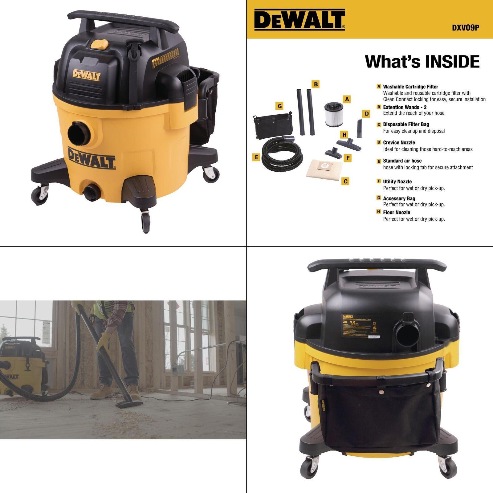 9 Gallon Wet Dry Vacuum Vac Large Handle Dustpan Multi Surface Wheel Tank Drain